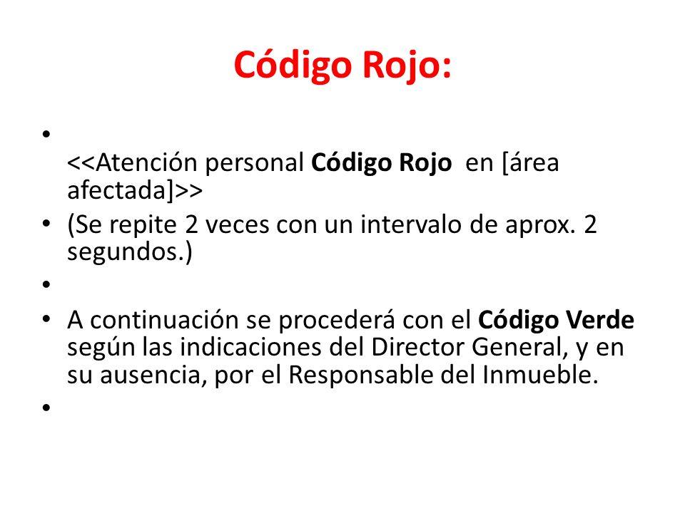 Código Rojo: <<Atención personal Código Rojo en [área afectada]>> (Se repite 2 veces con un intervalo de aprox. 2 segundos.)